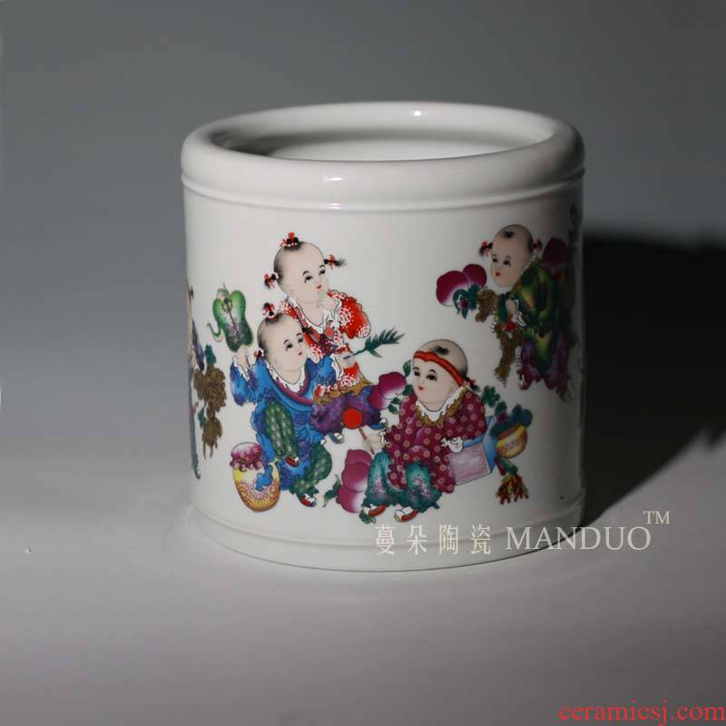 High - grade ceramic brush pot figure brush pot flower culture of the ancient philosophers study supplies decorative furnishing articles pen container M seven