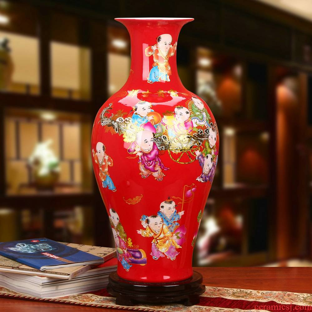 Modern Chinese jingdezhen ceramics China red lad of large vase wedding anniversary celebrations furnishing articles