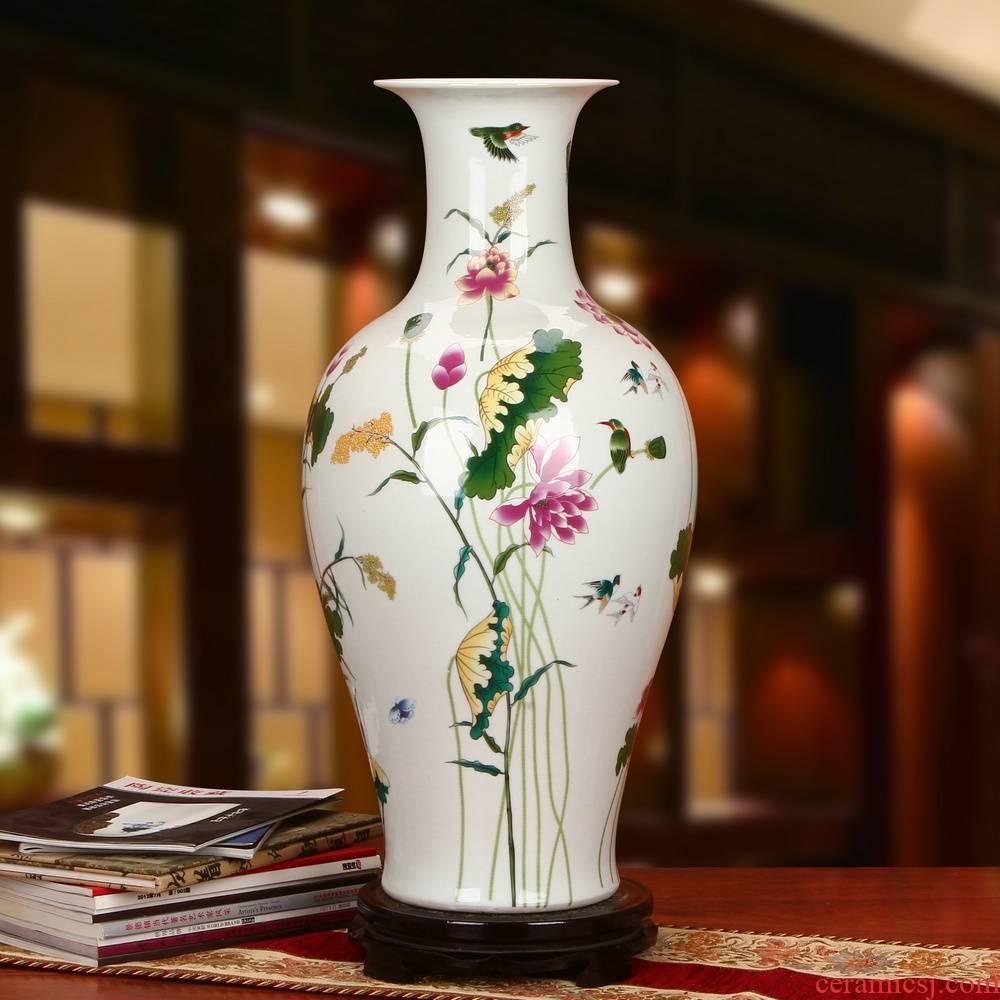 Jingdezhen ceramics powder enamel lotus guanyin of large vases, modern Chinese rural household crafts