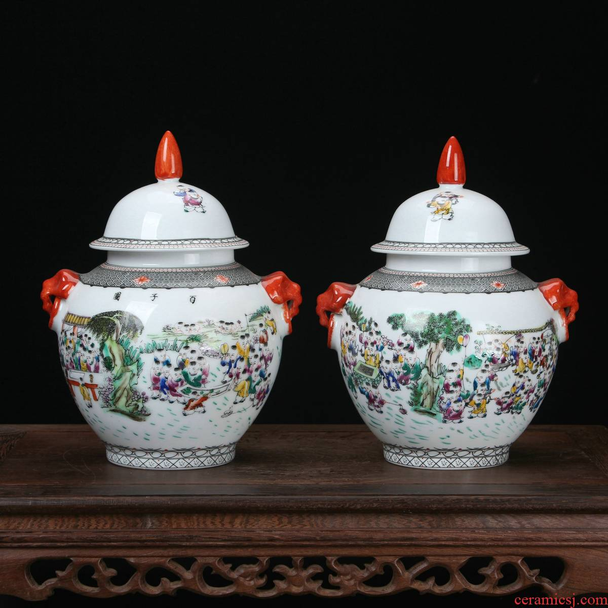 Jingdezhen ceramics vase high - grade hand - made pastel figure trumpet the general pot of classical Ming and the qing dynasties, the ancient philosophers arts and crafts