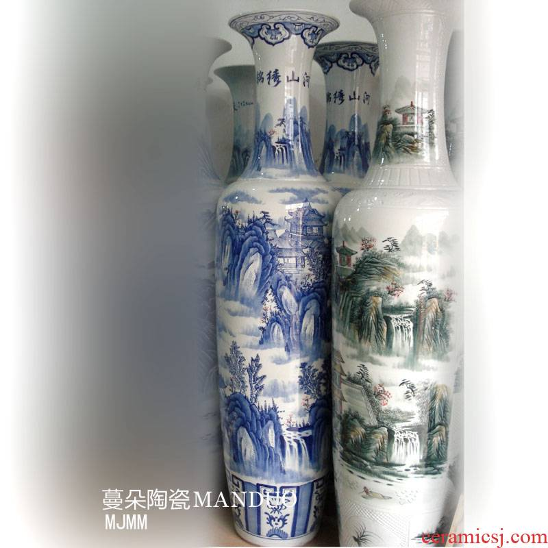 Jingdezhen hand - made landscape 1.8 meters tall vase of large blue and white landscape promotional gift the big vase vase