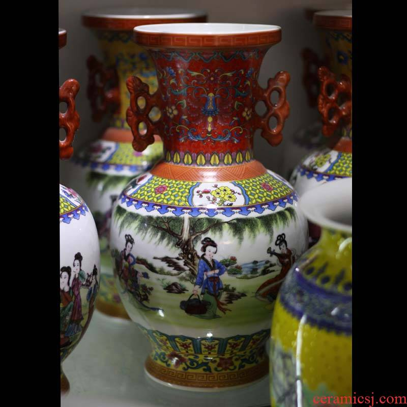 Jingdezhen enamel vase high - grade vase sitting room adornment that occupy the home furnishing articles fine ceramics
