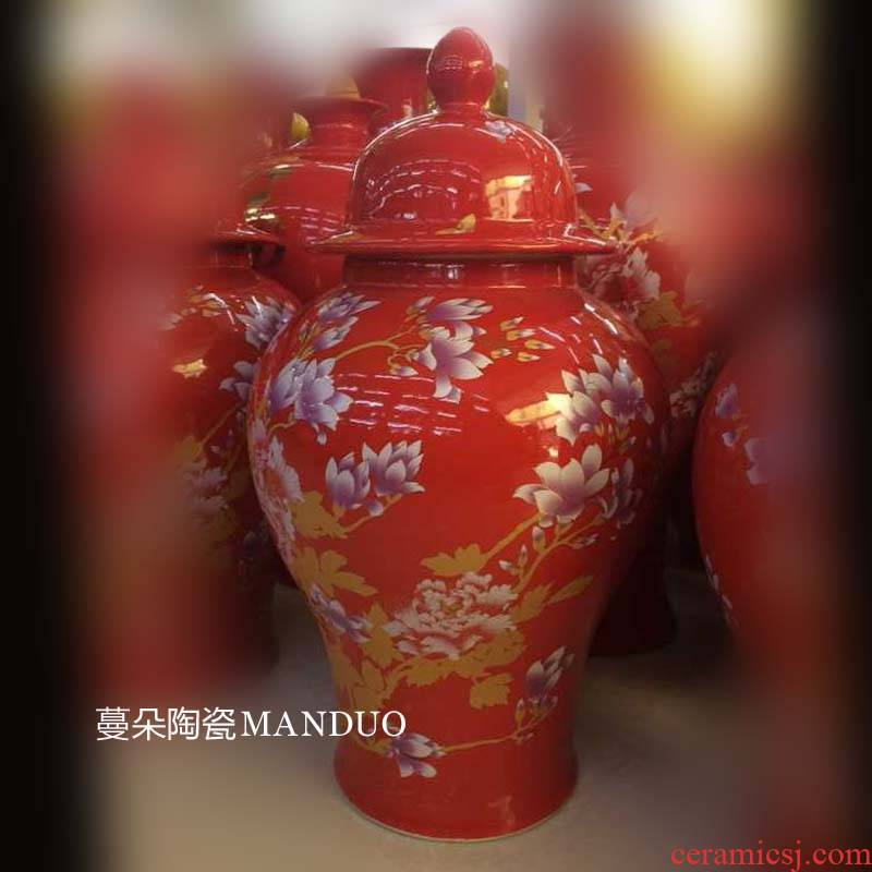 Jingdezhen red festive rose general tank wedding gifts opening gifts festival ceramic furniture furnishing articles