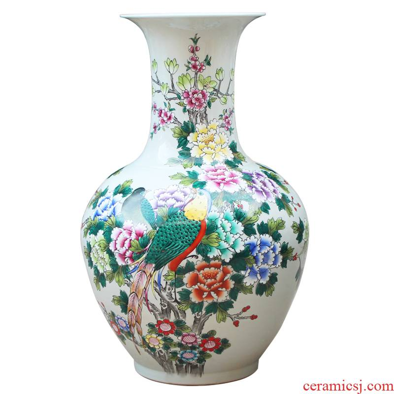 Jingdezhen ceramics hand - made pastel golden pheasant peony of large vases, classical Chinese style living room home decoration