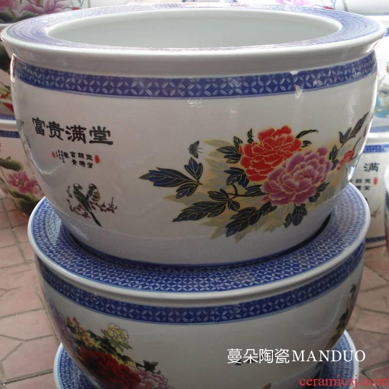 Jingdezhen color peacock pattern porcelain cylinder diameter of 40-50 cm flower big cylinder cylinder study the living room