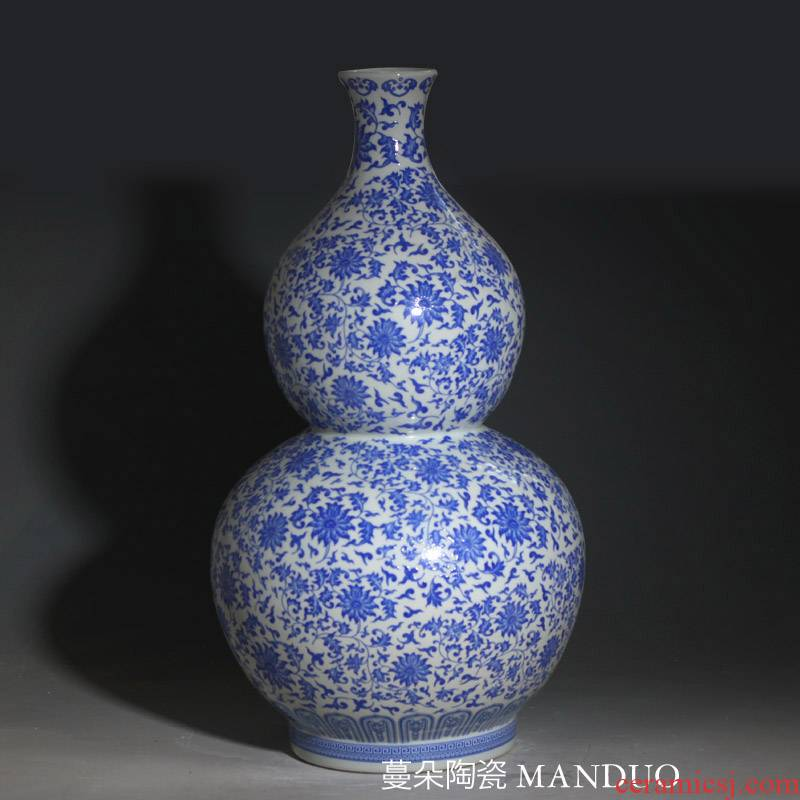 38-66 high gourd gourd shape ceramic blue and white porcelain vase full blue and white porcelain bottle gourd