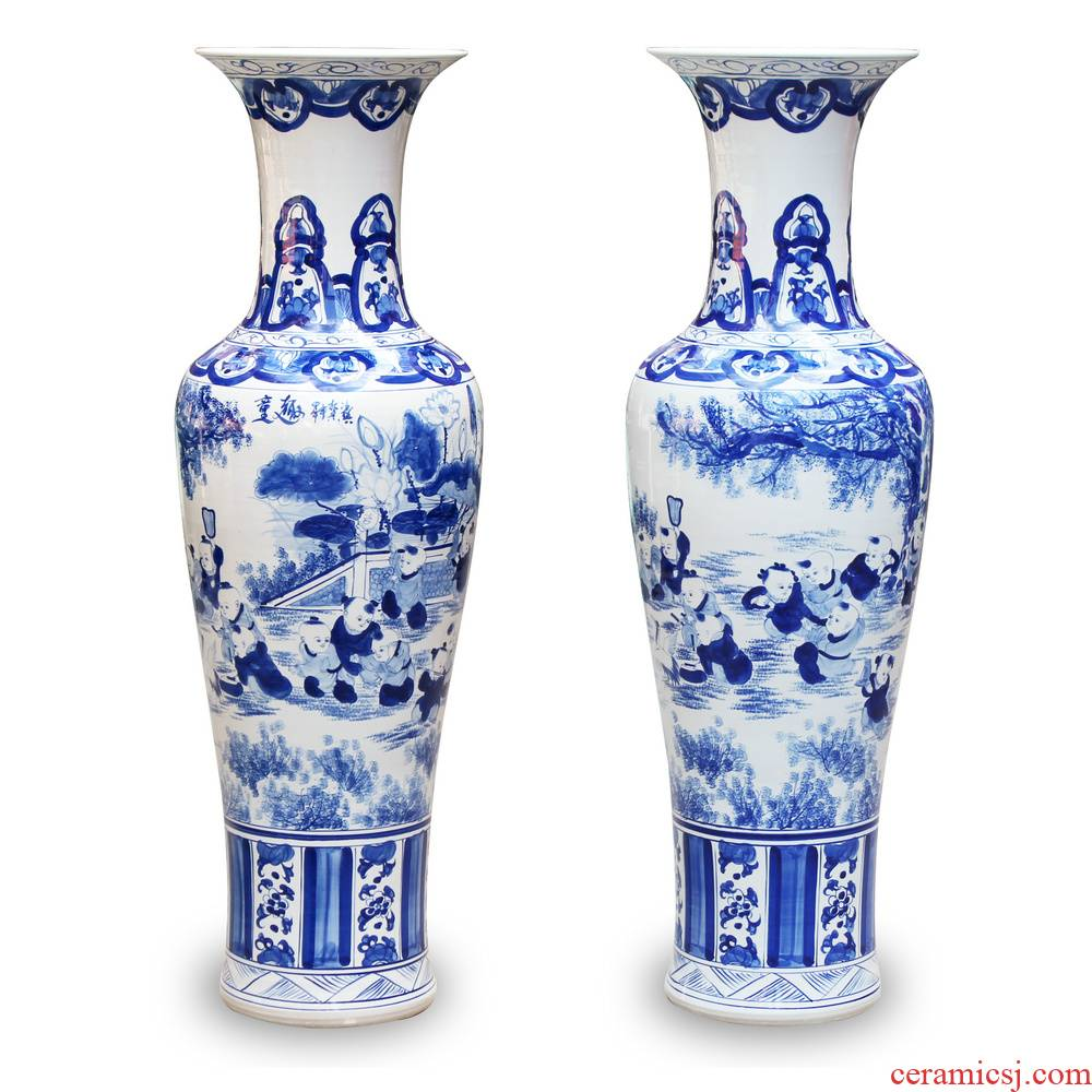 Hand draw the lad figure of large vase of blue and white porcelain of jingdezhen ceramics decoration to the hotel Chinese style living room furnishing articles