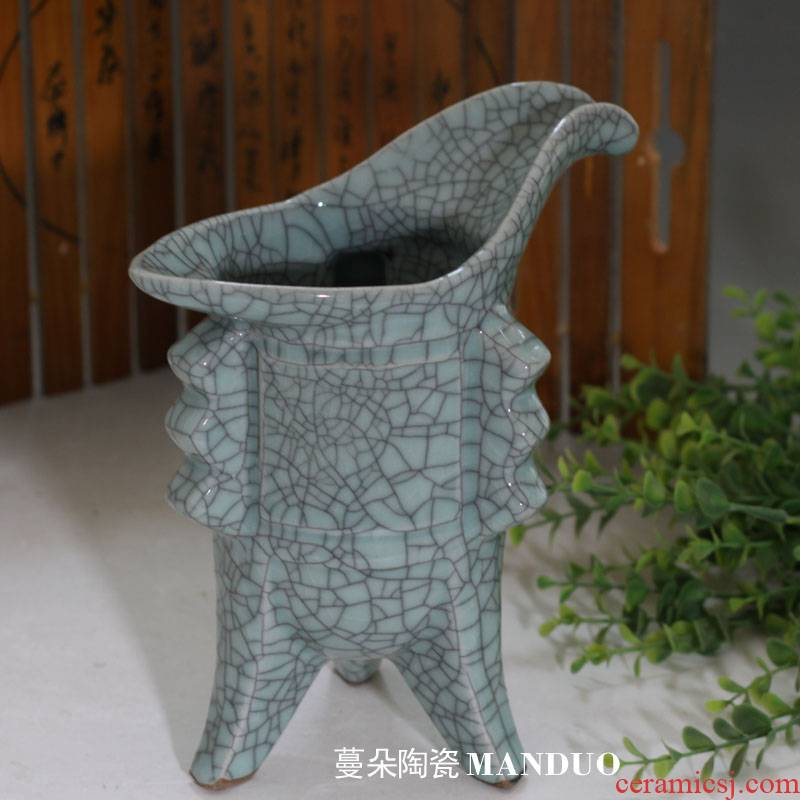 Open the slice rich ancient frame crackle glaze furnishing articles decoration simple jue jue classic glass ceramic porcelain
