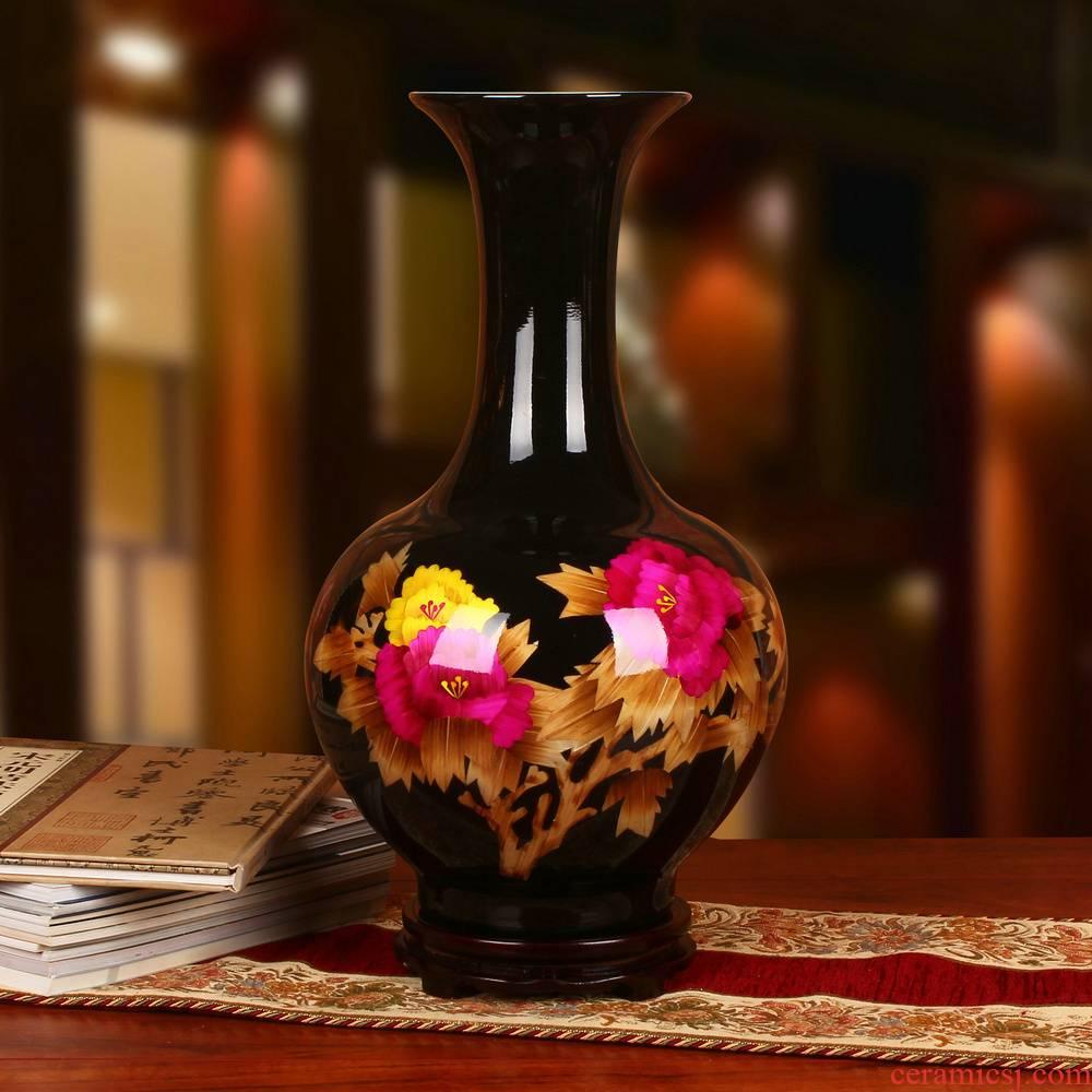Jingdezhen ceramics black straw riches and honor peony vases of modern Chinese style wedding decoration key-2 luxury furnishing articles