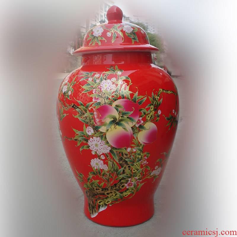 Jingdezhen ceramic red xiantao cover pot vase elegant was the birthday gifts elders high - end gifts xiantao