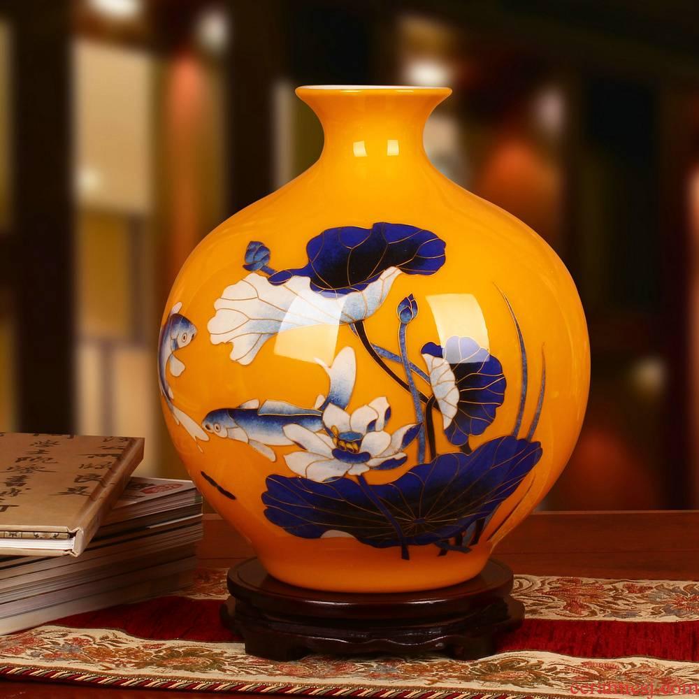 Jingdezhen ceramics high - grade gold fish yellow straw lotus vase sitting room adornment of Chinese style household furnishing articles