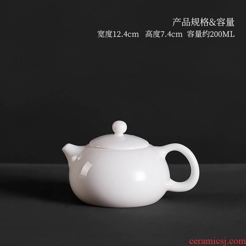 Manual dehua white porcelain little teapot suet jade porcelain single ceramic small single pot kung fu tea set mini xi shi pot