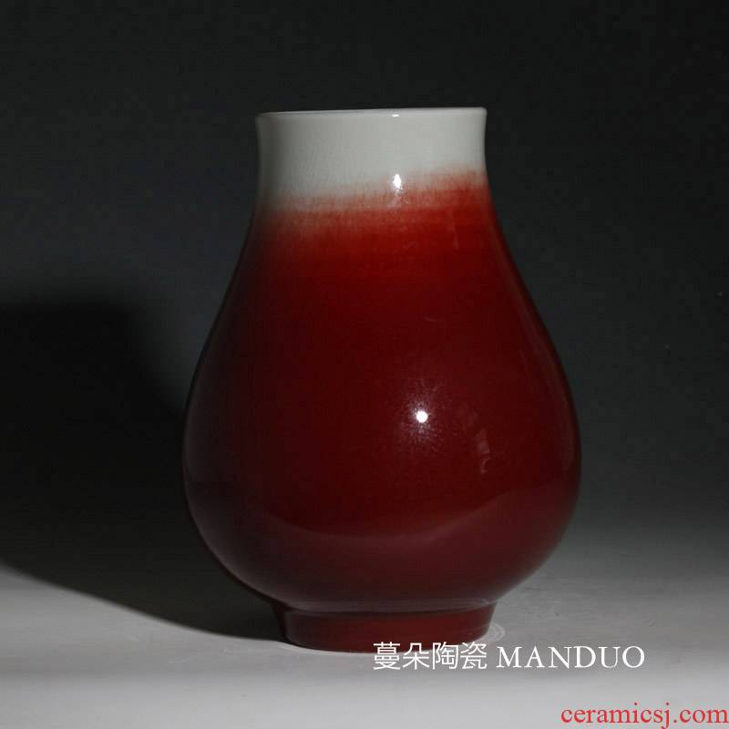 Jingdezhen LangHongFu tube porcelain vases big flower arranging red porcelain vase