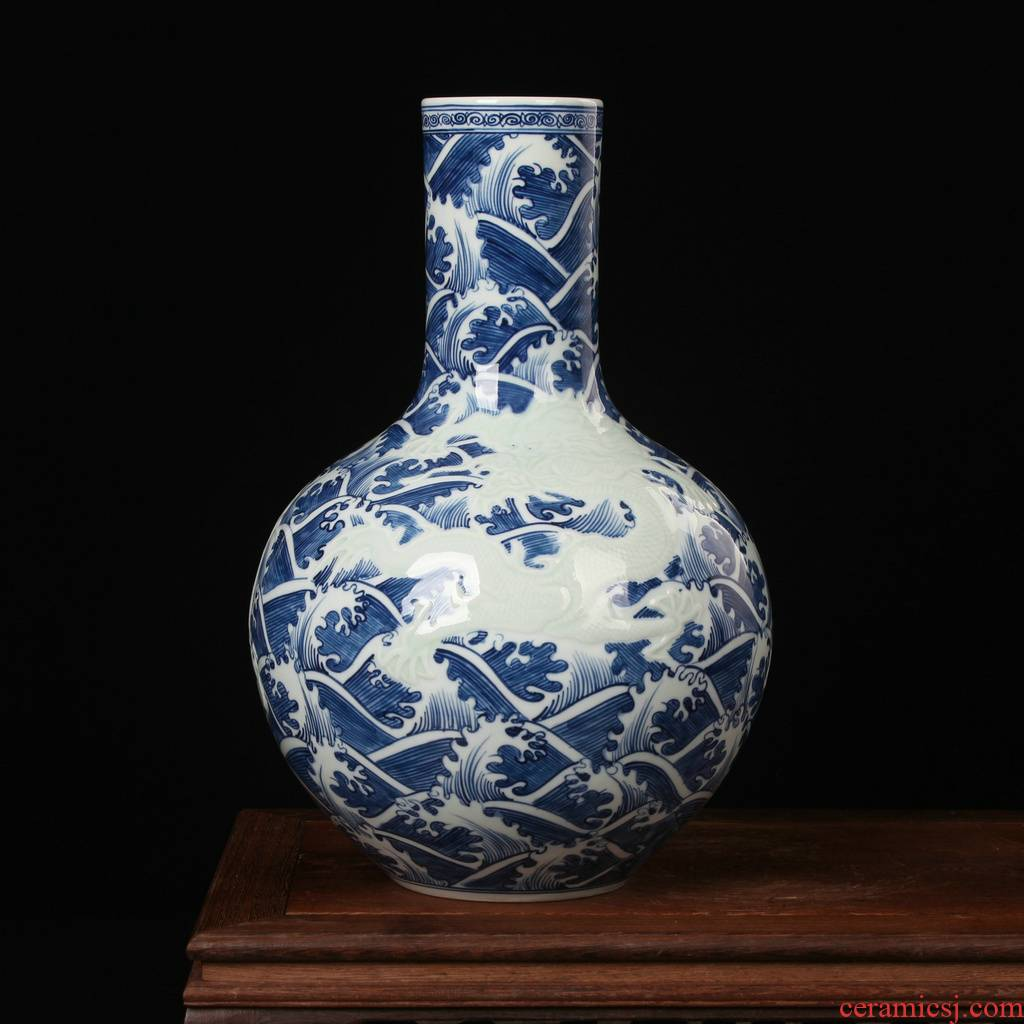 High - end antique manual jingdezhen blue and white porcelain carving water lines celestial dragon vase decorated ceramics furnishing articles