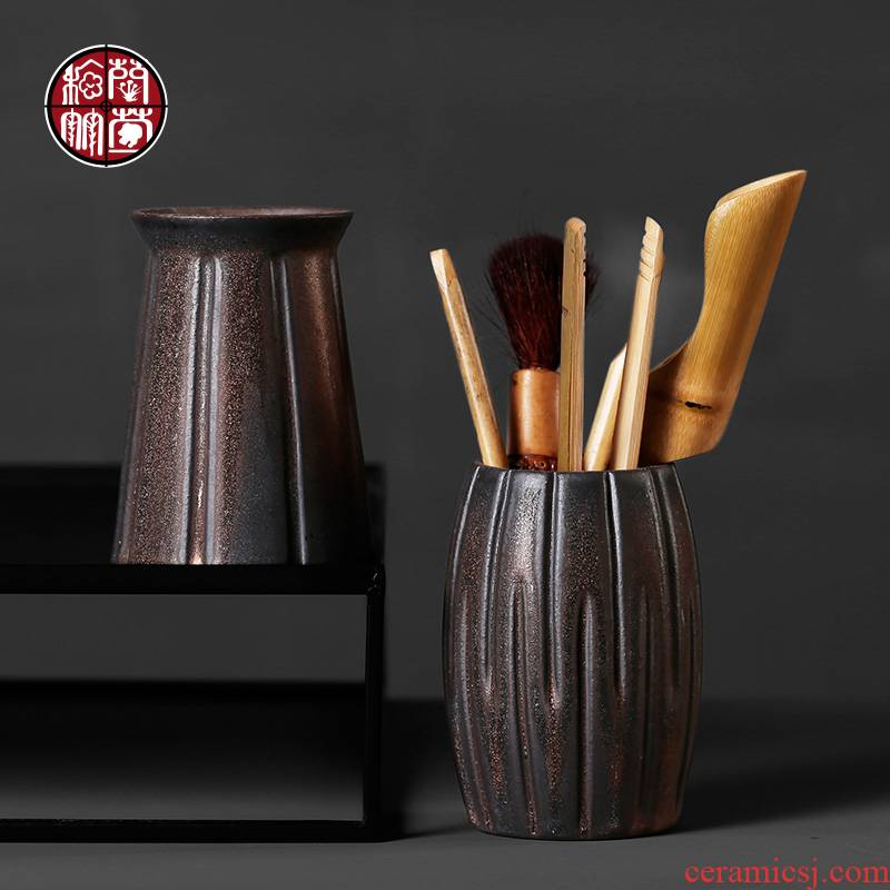 Coarse pottery rust glaze antique tea six gentleman loading of a complete set of kung fu tea accessories 6 sets with zero household combination