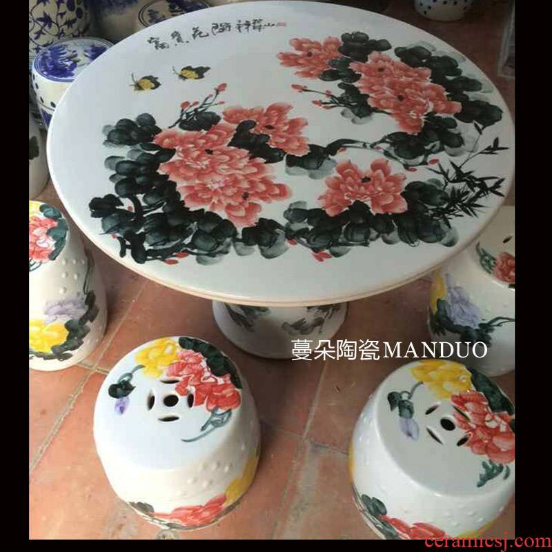 Large courtyard villas hand color peony riches and honour of jingdezhen porcelain table porcelain table solid table