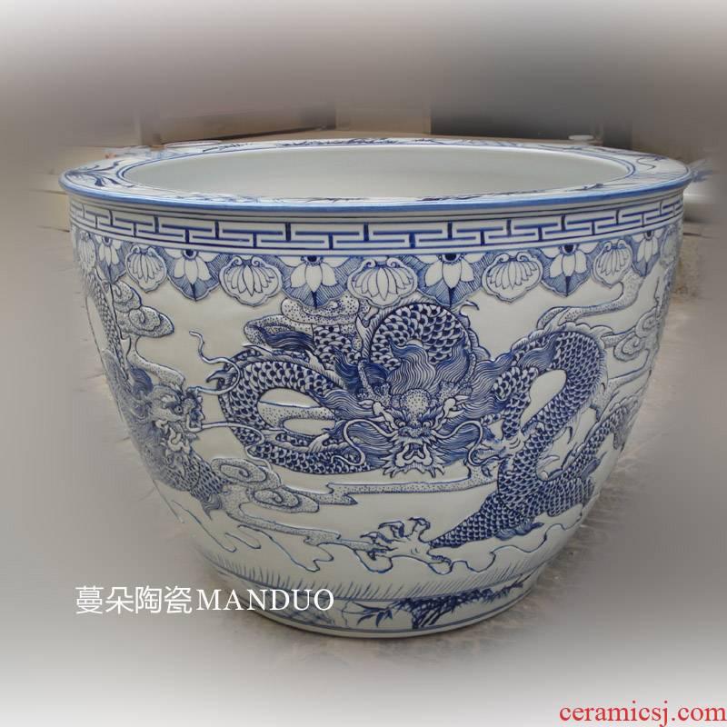 Jingdezhen porcelain carving dragon art its VAT calligraphy and painting culture vats porcelain lotus aquarium