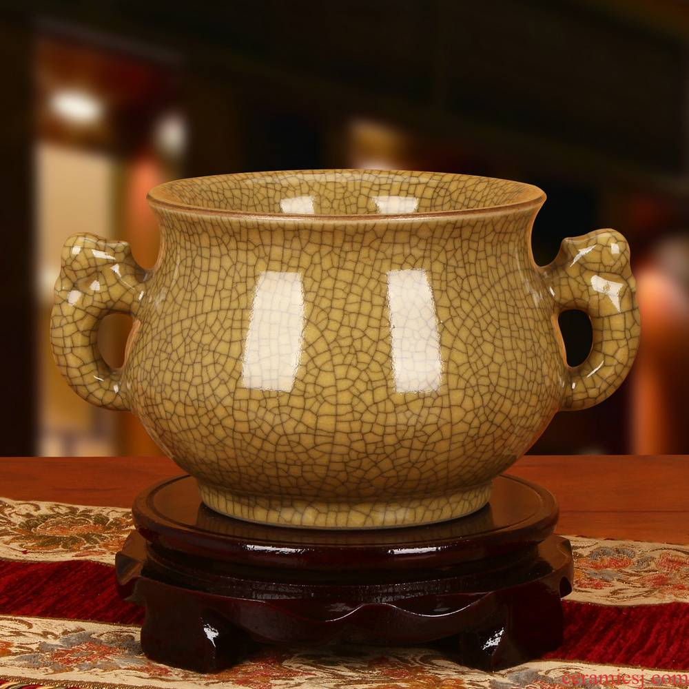 Jingdezhen ceramics archaize brother huang guan up crack open a piece of ssangyong 's ear big storage can act the role ofing is tasted furnishing articles