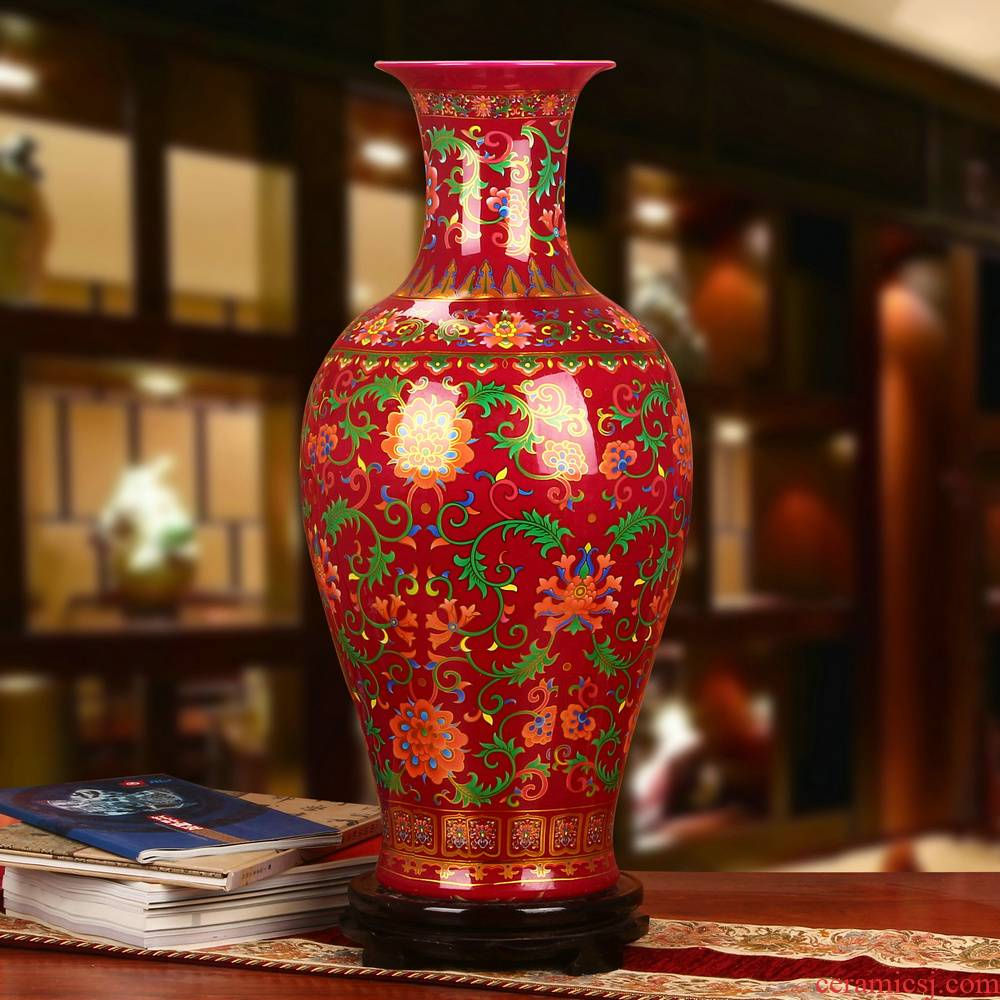 Jingdezhen ceramics modern household crystalline glaze mei red technological device of large vase furnishing articles