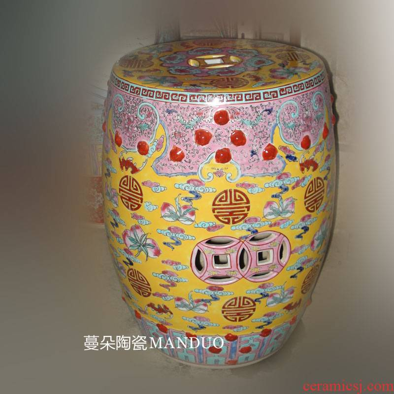 Jingdezhen clear manual pastel yellow at the end of the classical elegant classical high - grade decoration porcelain who yellow who