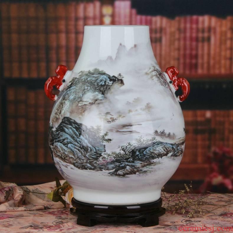 Modern Chinese jingdezhen ceramics pastel landscape deer head f tube large vases, Modern Chinese style furnishing articles