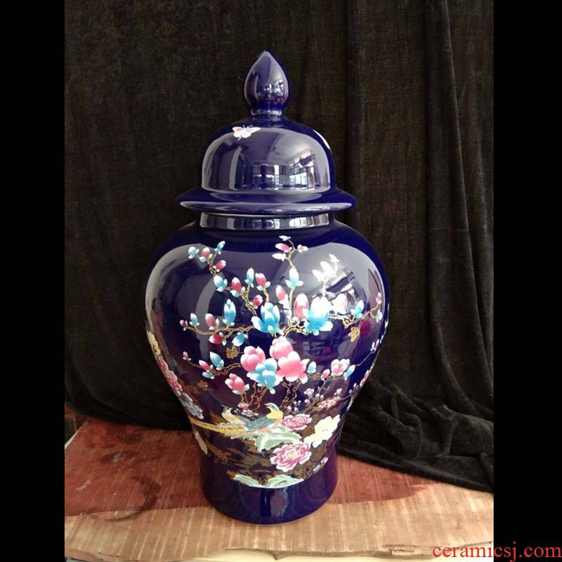 Blue flower porcelain jingdezhen 50 to 60 cm high big vase ji Blue porcelain vase