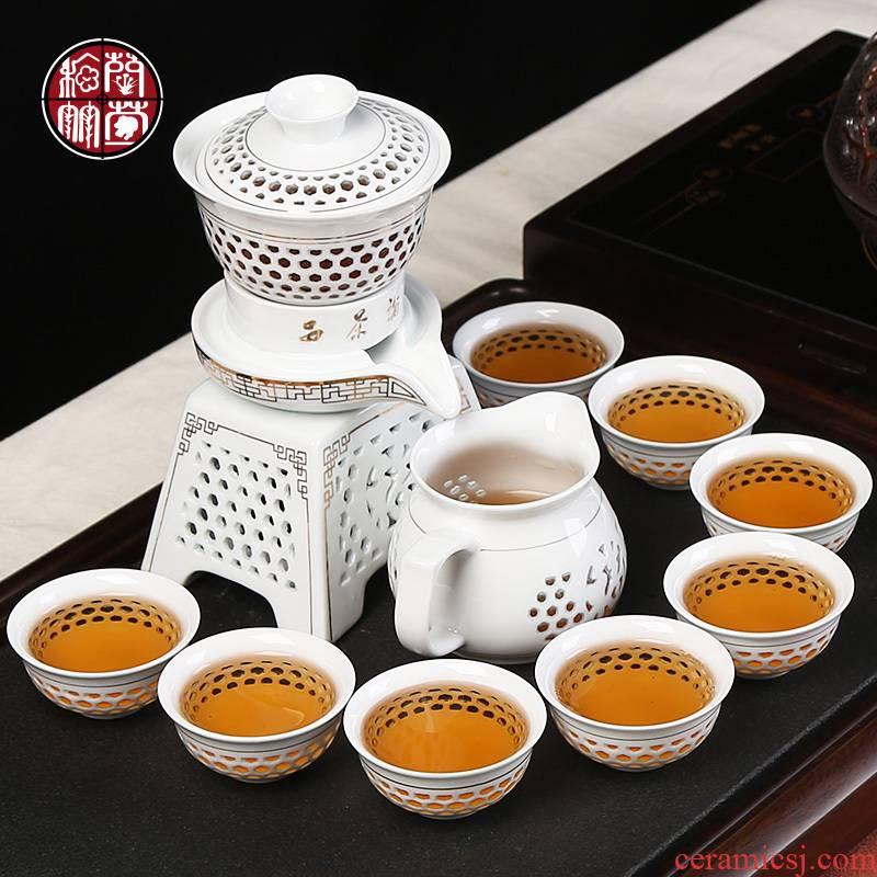Semi - automatic tea set ceramic household lazy stone mill rotating water kunfu tea exquisite hollow out the make tea tea art