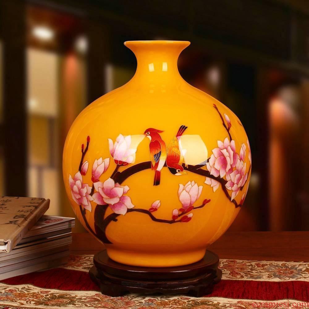 Jingdezhen ceramics vase golden straw yellow riches and honor peony round vase fashion home decoration furnishing articles
