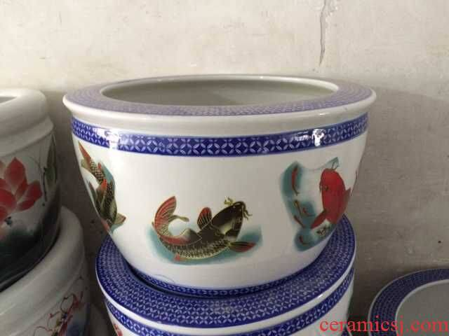Fish VAT ceramic porcelain Fish painting ceramic ceramic cylinder Fish farming water lily flowers plant trees cylinder