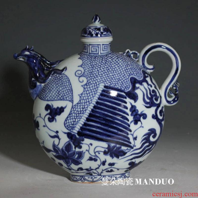 Imitation of the yuan dynasty blue and white porcelain jar zito bian yuan dynasty blue - and - white porcelain pot of jingdezhen blue and white comb antique pot
