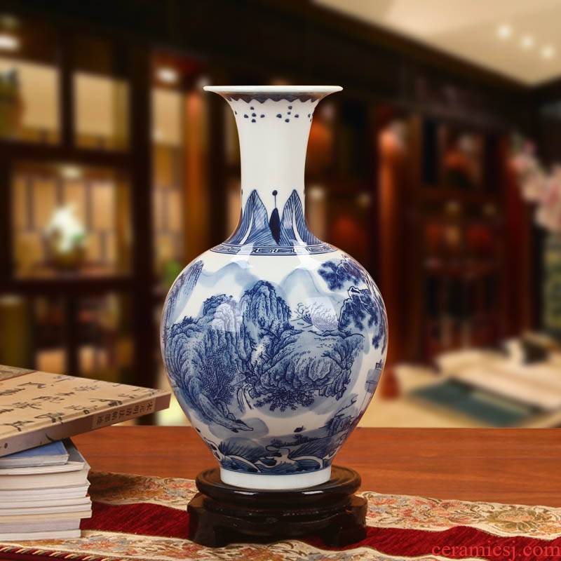 Classical jingdezhen blue and white landscape Chinese antique hand - made ceramics vase vase collection furnishing articles ornaments