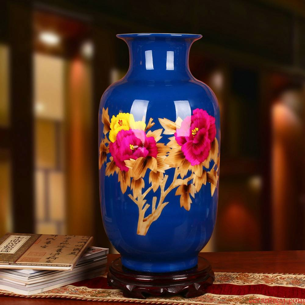 Jingdezhen ceramics blue straw peony flowers prosperous vase opening gifts collection place decoration