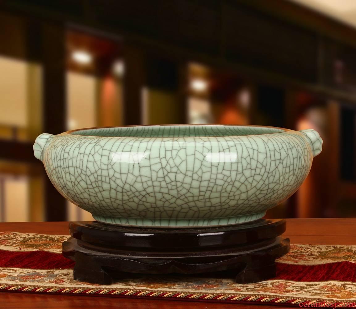 Archaize of jingdezhen ceramics slicing crackle binaural head tortoise fish tank water shallow home furnishing articles