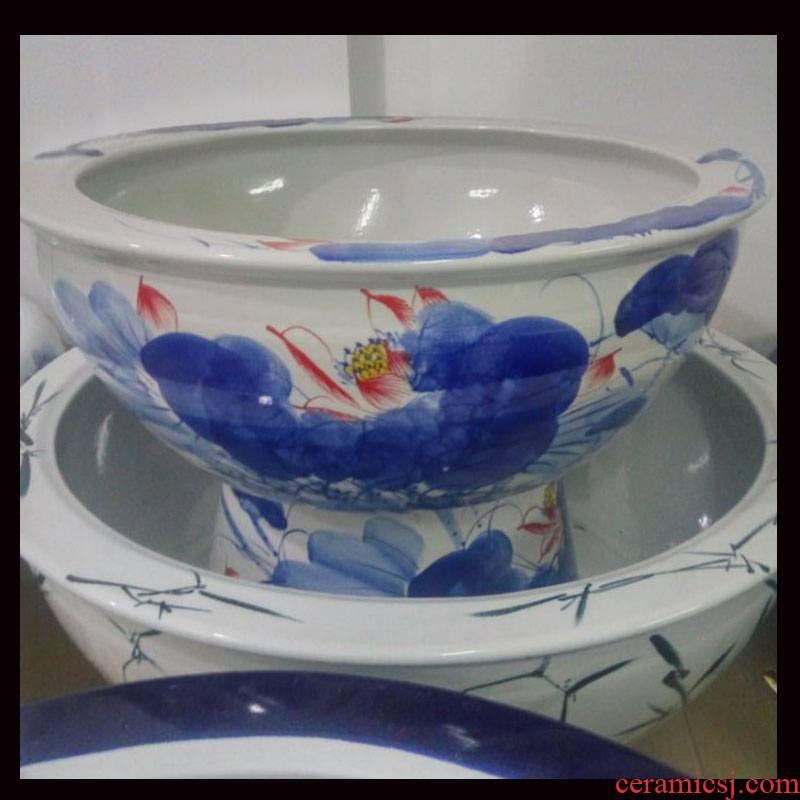 Jingdezhen ceramic porcelain 45 & ndash; Blue green 67 hand - made ceramic high cylinder bottom flat cylinder goldfish