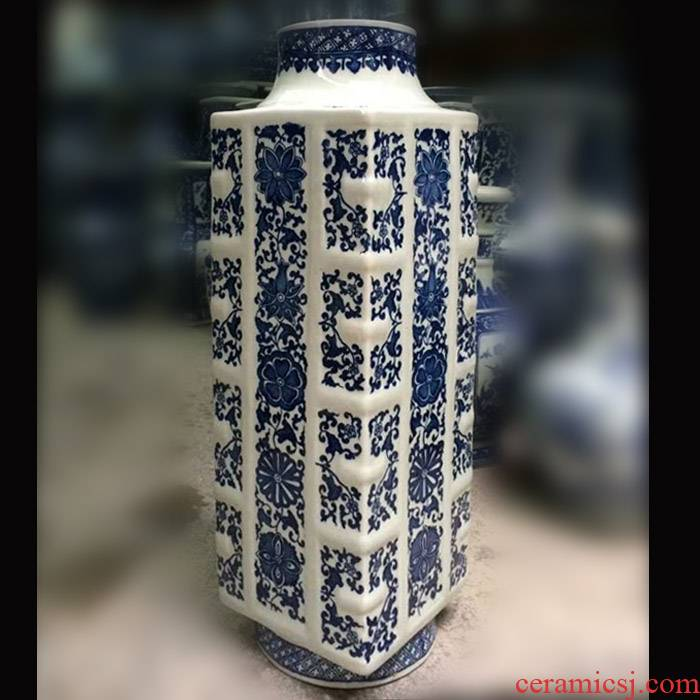 Blue and white porcelain vase square antique jade cong jingdezhen porcelain square circle within the foreign Chinese antique bottles