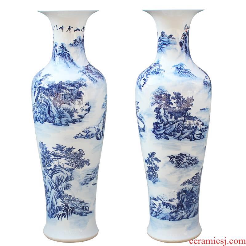 Jingdezhen ceramics hand - made modern blue and white landscape of large vase sitting room hall decoration decorative furnishing articles