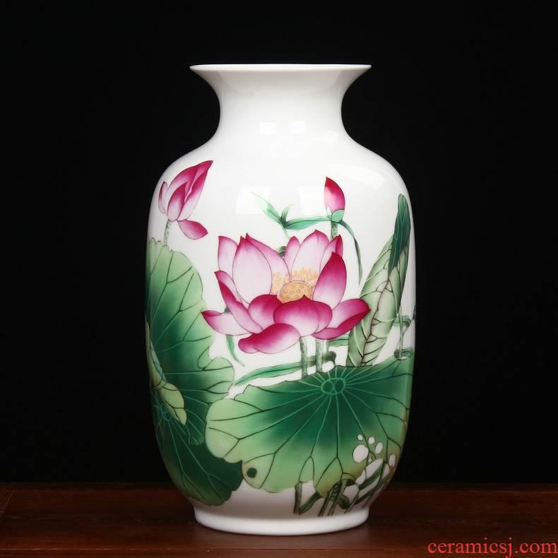 Modern Chinese rural jingdezhen ceramics powder enamel lotus flower vase household adornment handicraft furnishing articles sitting room