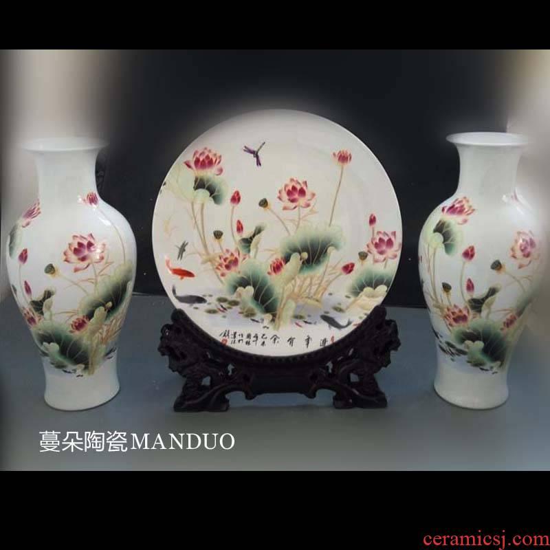 Jingdezhen lotus decorative porcelain furnishing articles elegant lobby sitting room porch decorate a new house furnishing articles