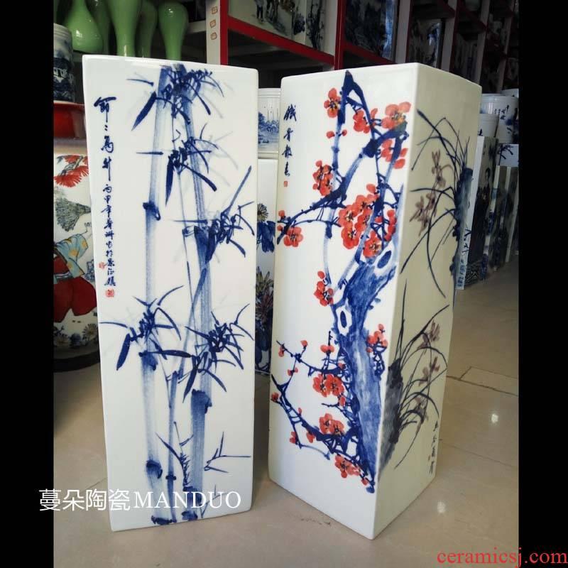 Jingdezhen hand - drawing by patterns sijunzi square art porcelain vases square bottle