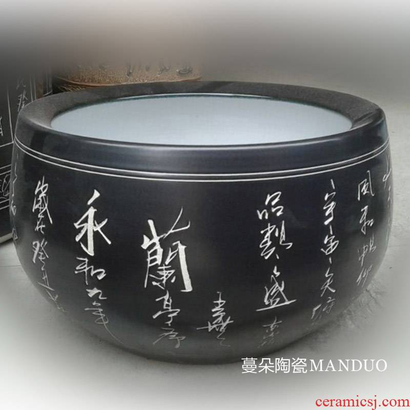Jingdezhen black lettering China writing brush washer from China lettering shallow water aquarium big writing brush washer from China furniture furnishing articles