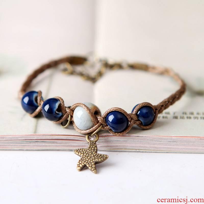 The Original manual QingGe jingdezhen 's restoring ancient ways is literary market. I supply woven ceramic bracelet female stars