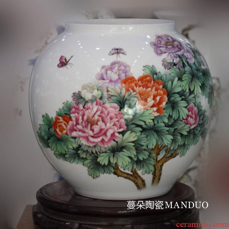 Jingdezhen hand - made 30 meters high c spherical ball vase peony peony vases, tong qu round porcelain vases