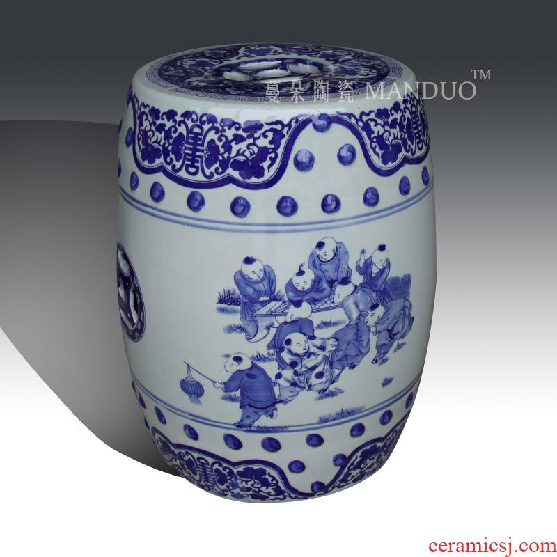 Blue and white dragon art porcelain who classical classical fashion cultural ceramic who tong qu ceramic stools