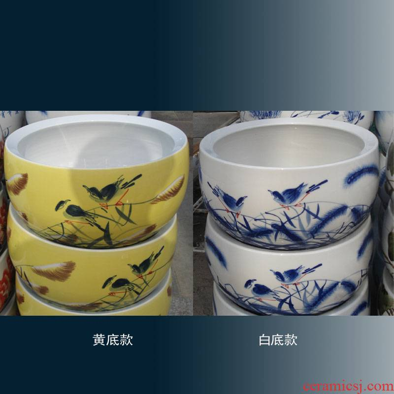 Jingdezhen hand - made reed bird writing brush washer display trash porcelain porcelain basin fashion porcelain porcelain crock