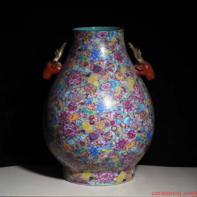 Jingdezhen name plum flower vase bottle of flower is the ear vase flowers full color vases, flower porcelain bottle