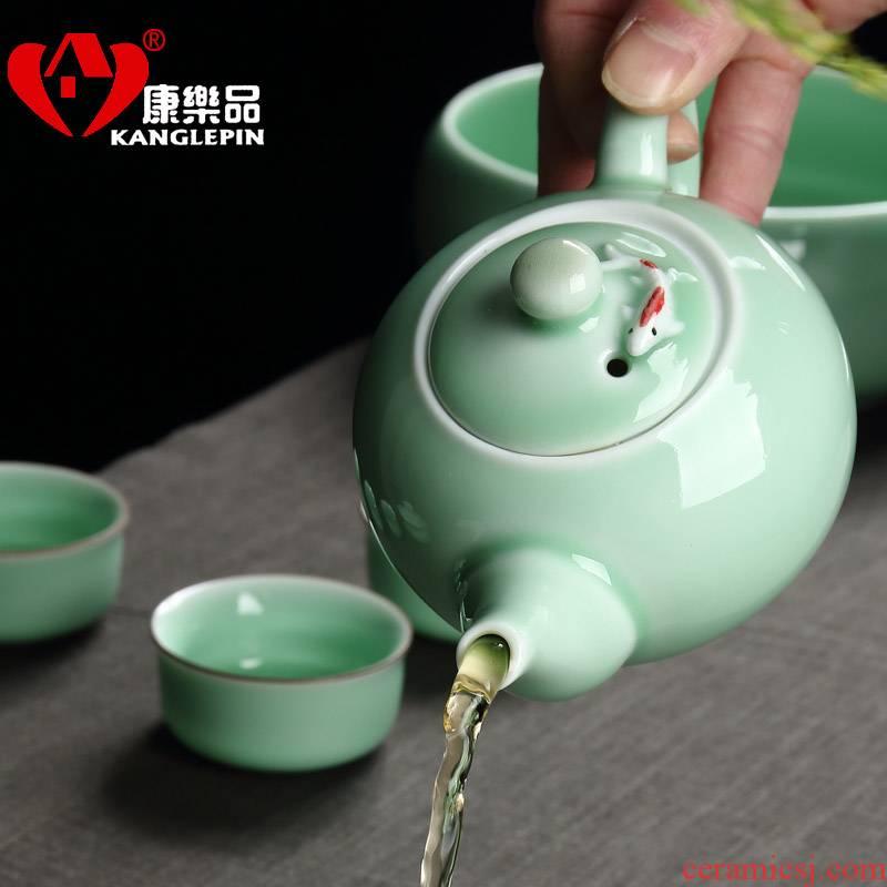 Recreational product household celadon single porcelain teapot kung fu tea tea tea set ceramic pot fish capacity of 270 ml