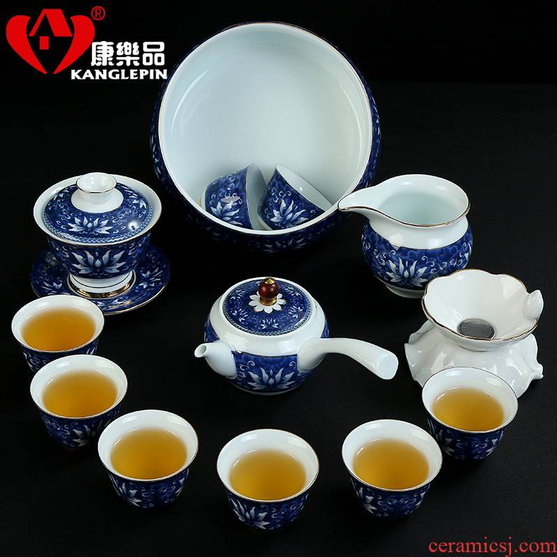 Recreational product office kung fu tea set of blue and white porcelain tea jade porcelain teacup tureen kettle of a complete set of the home