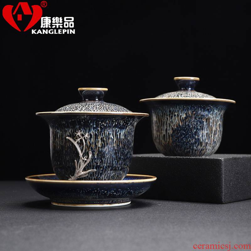 Recreational product three silver inlaid GaiWanCha exchanger with the ceramics to a cup of tea bowl of kung fu tea accessories tea for 165 ml