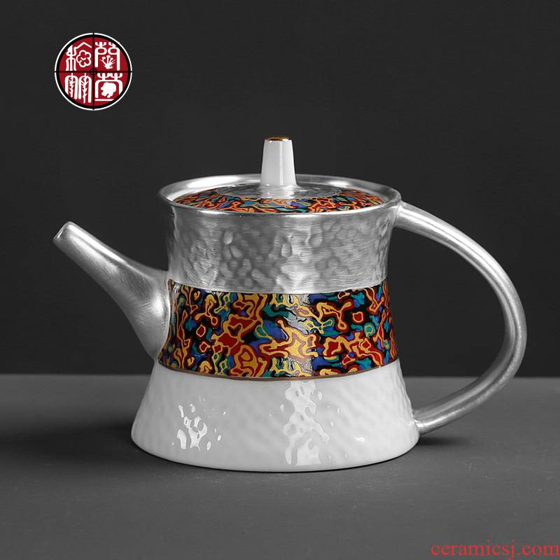 Ceramic teapot kung fu small individual household individuality characteristic creative coppering. As hammer silver big single pot office
