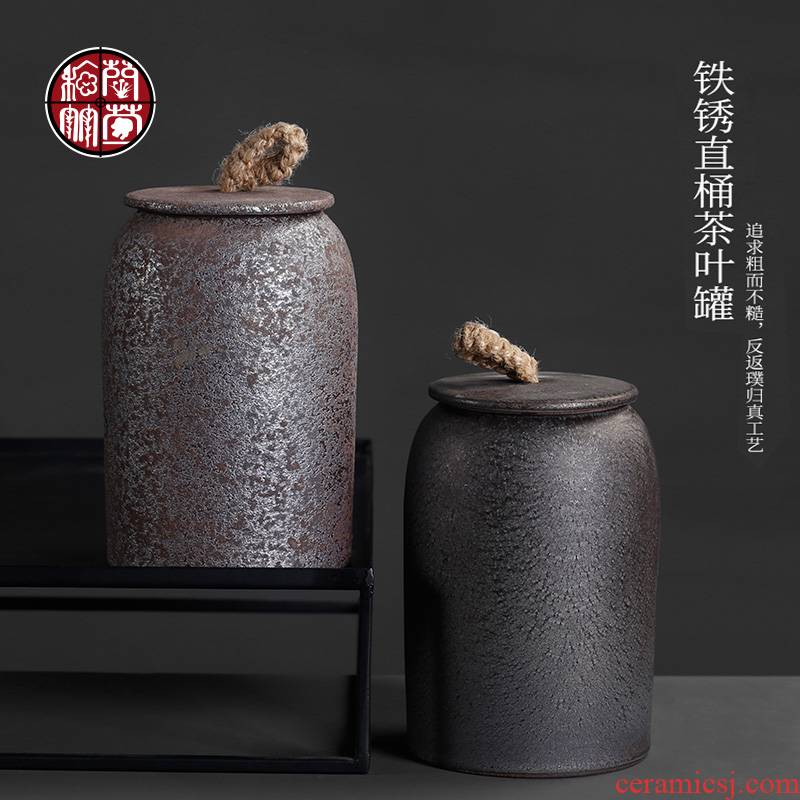 Coarse pottery caddy fixings Japanese household seal pot restoring ancient ways kung fu tea tea spare parts the receive ceramic storage tank